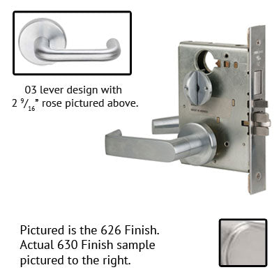 Schlage L9070P 03B 630 Stainless Steel Finish Classroom Lever Mortise Lock With Cylinder