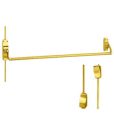 Von Duprin 8827EO US3 Polished Brass Finish Vertical Rod Panic Bar Exit Only