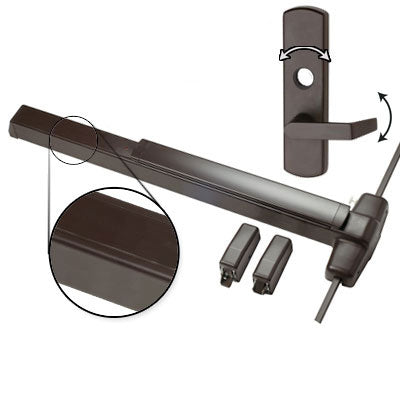 Von Duprin QEL9827L 3 US10B Oil Rubbed Bronze Finish Three Foot Quiet Electric Latch Retraction Vertical Rod Panic Bar With Lever Trim