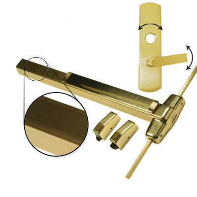 Von Duprin QEL9827L 3 US3 Polished Brass Finish Three Foot Quiet Electric Latch Retraction Vertical Rod Panic Bar With Lever Trim