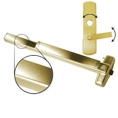 Von Duprin QEL98L 3 US3 Polished Brass Finish Three Foot Quiet Electric Latch Retraction Panic Bar With Lever Trim