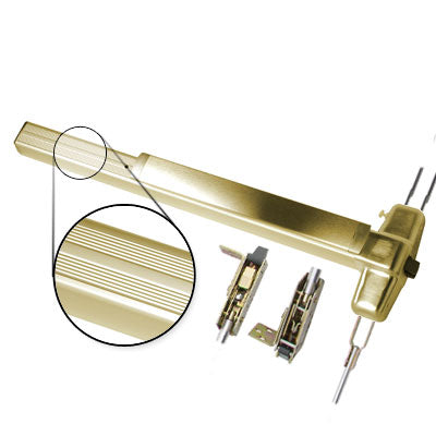Von Duprin QEL9947EO 3 US3 Polished Brass Finish Three Foot Quiet Electric Latch Retraction Concealed Vertical Rod Panic Bar Exit Only