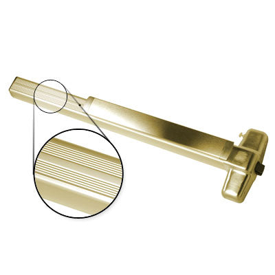 Von Duprin QEL99EO 4 US3 Polished Brass Finish Four Foot Quiet Electric Latch Retraction Panic Bar Exit Only