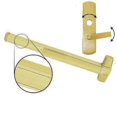 Von Duprin AX-PA99L-06 F 3 US4 RHR Brushed Brass Finish Three Foot Fire Rated Accessible Rated Panic Bar With Pushpad Armor With 06 Right Hand Reverse Lever Trim