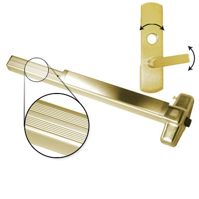 Von Duprin QEL99L 3 US3 Polished Brass Finish Three Foot Quiet Electric Latch Retraction Panic Bar With Lever Trim