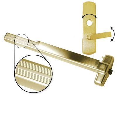 Von Duprin AX-PA99L-06 4 US3 RHR Polished Brass Finish Four Foot Accessible Rated Panic Bar With Pushpad Armor With 06 Right Hand Reverse Lever Trim