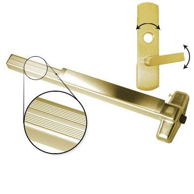 Von Duprin AX-PA99L-06 4 US3 LHR Polished Brass Finish Four Foot Accessible Rated Panic Bar With Pushpad Armor With 06 Left Hand Reverse Lever Trim