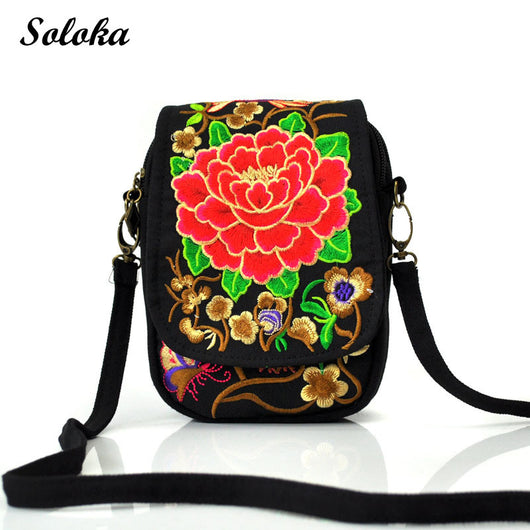 Boho Ethnic Embroidery Bag Vintage Peony Embroidered Canvas Cover Shoulder Messenger Bags Handmade Multicolor Small Coins Bags
