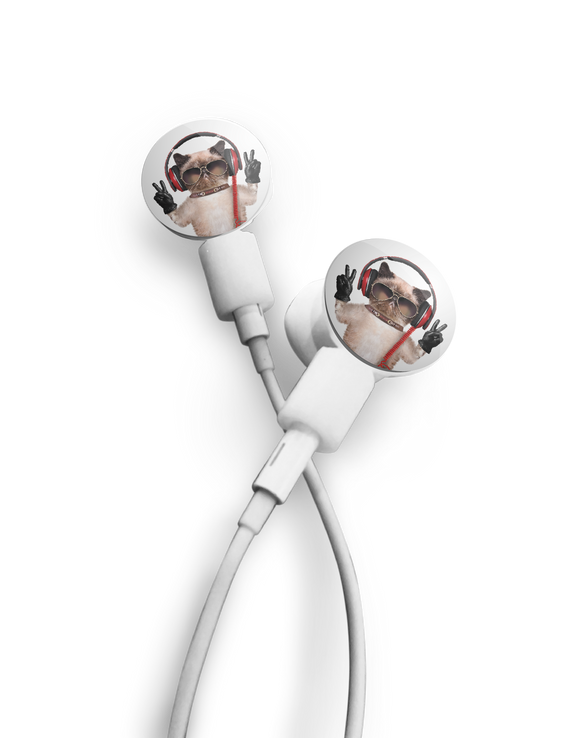 dekaSlides: Pair of Apple Earbud Covers - Peace Cat