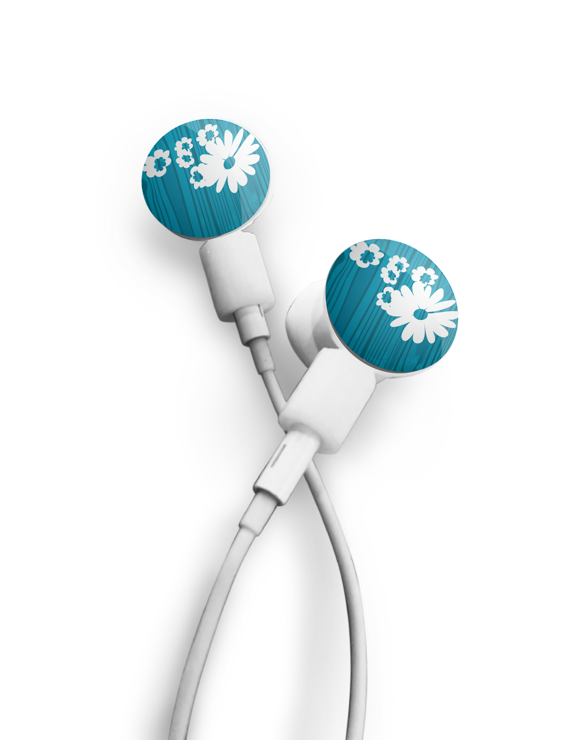 Earbuds + Daisy on Blue dekaSlides