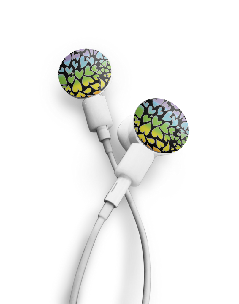 dekaSlides: Pair of Apple Earbud Covers - Rainbow Hearts