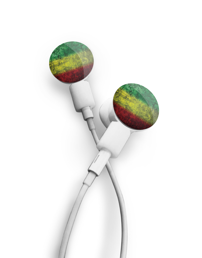 dekaSlides: Pair of Apple Earbud Covers - Rasta Watercolor