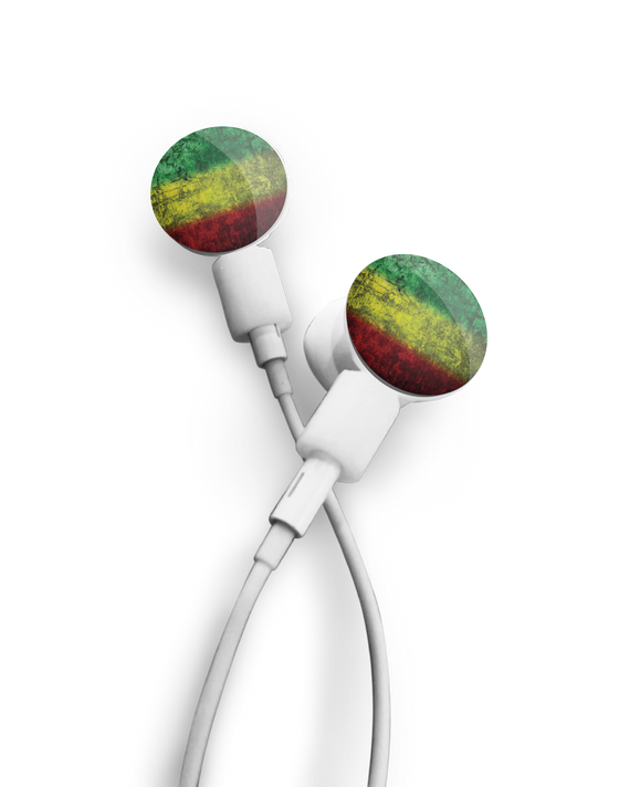 Earbuds + Rasta Watercolor dekaSlides