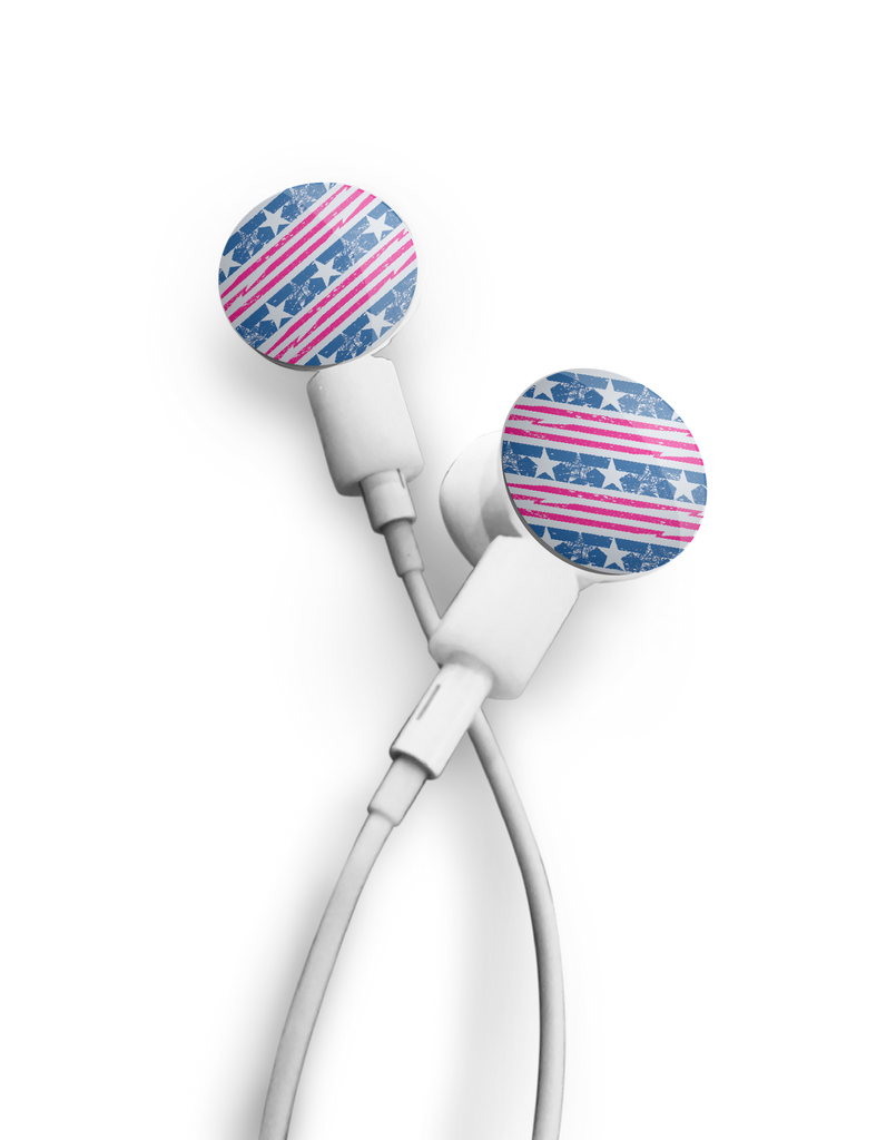 dekaSlides: Pair of Apple Earbud Covers - Stars and Stripes
