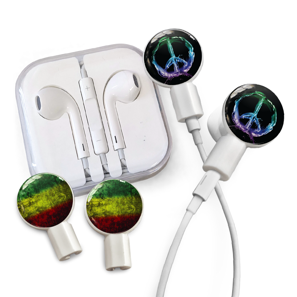 Earbuds + Combo Pack: Peace Sign + Rasta Watercolor