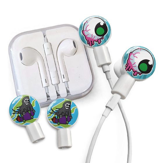 Earbuds + Combo Pack: Dripping Eyeball + Grim Skater