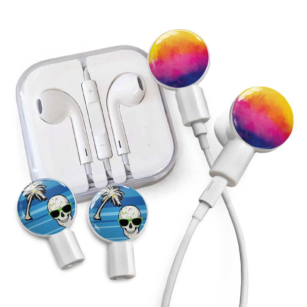 Earbuds + Combo Pack: Watercolor Sunset + Tropical Skull