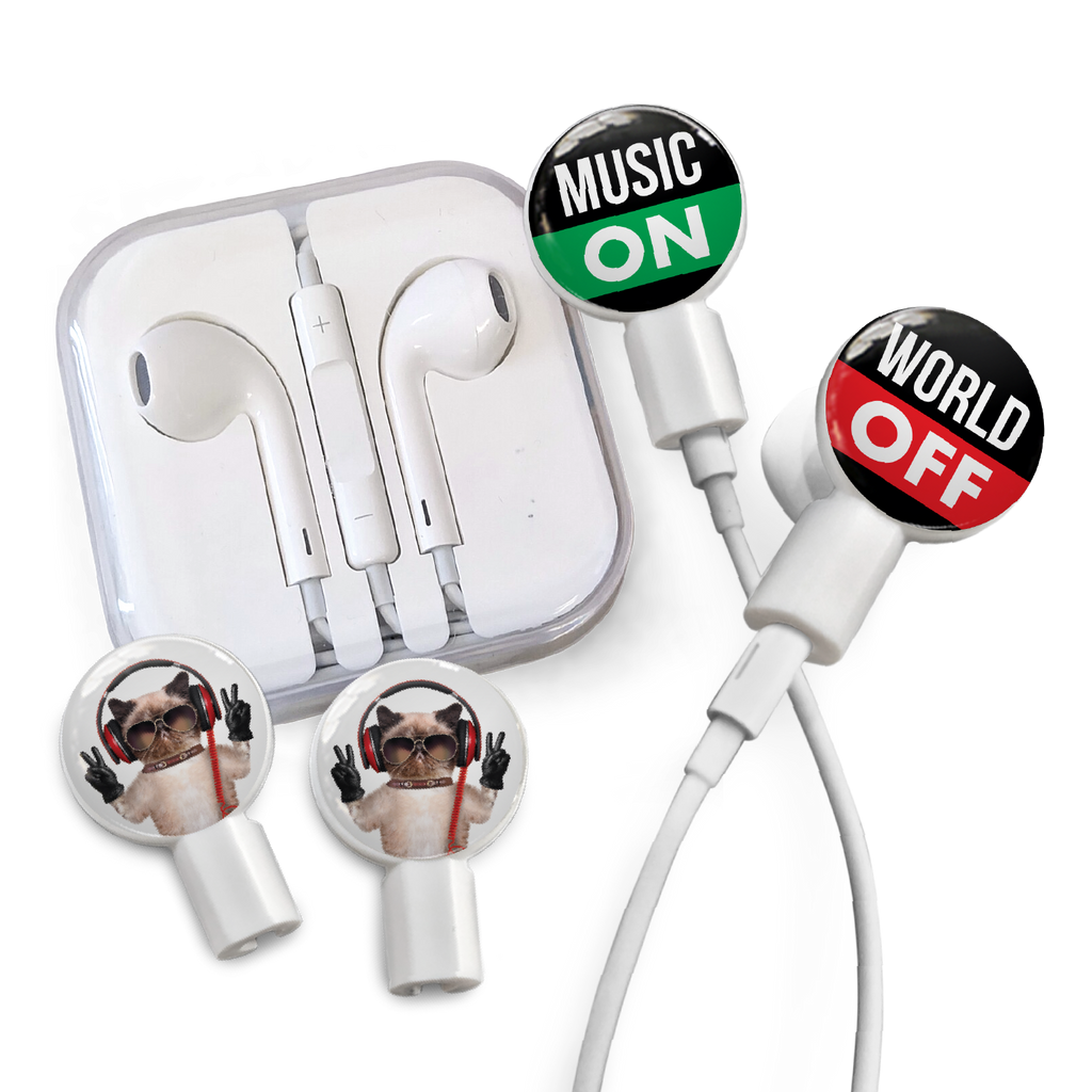 Earbuds + Combo Pack: Music On / World Off + Peace Cat