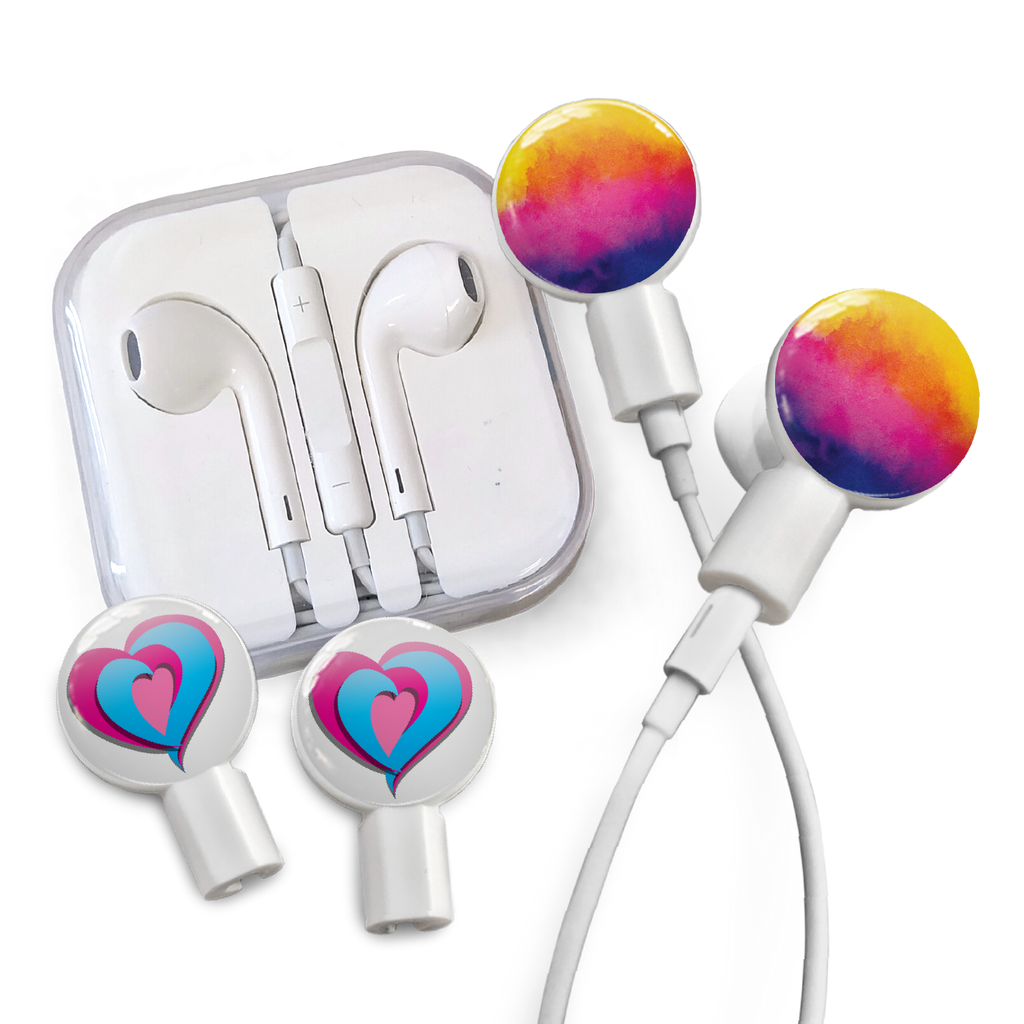 Earbuds + Combo Pack: Watercolor Sunset + Tri-Heart