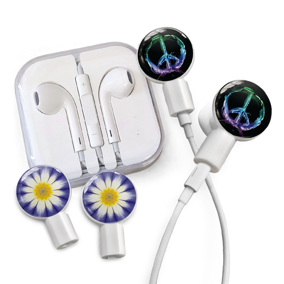 Earbuds + Combo Pack: Peace Sign + Purple Daisy