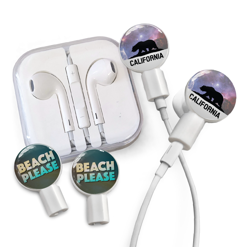 Earbuds + Combo Pack: Cali Bear + Beach Please