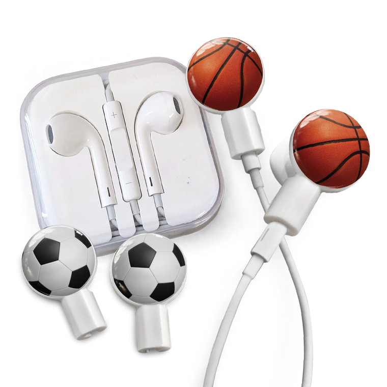 Earbuds + Combo Pack: Basketball + Soccer Ball