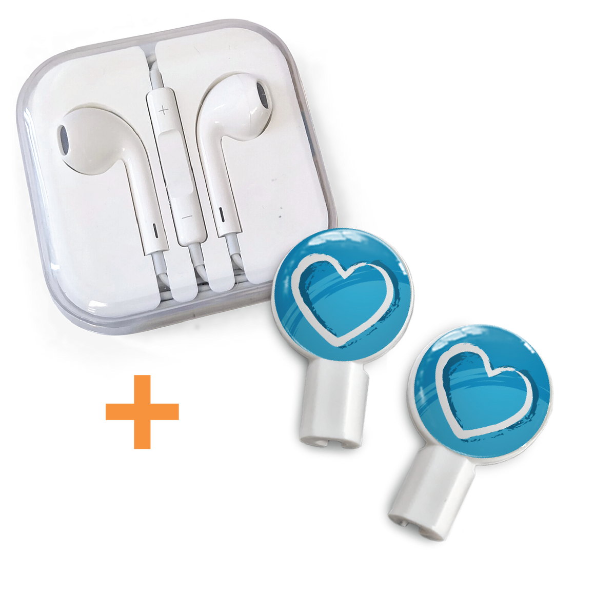 Earbuds + Slide-On Graphics: Brushed Heart