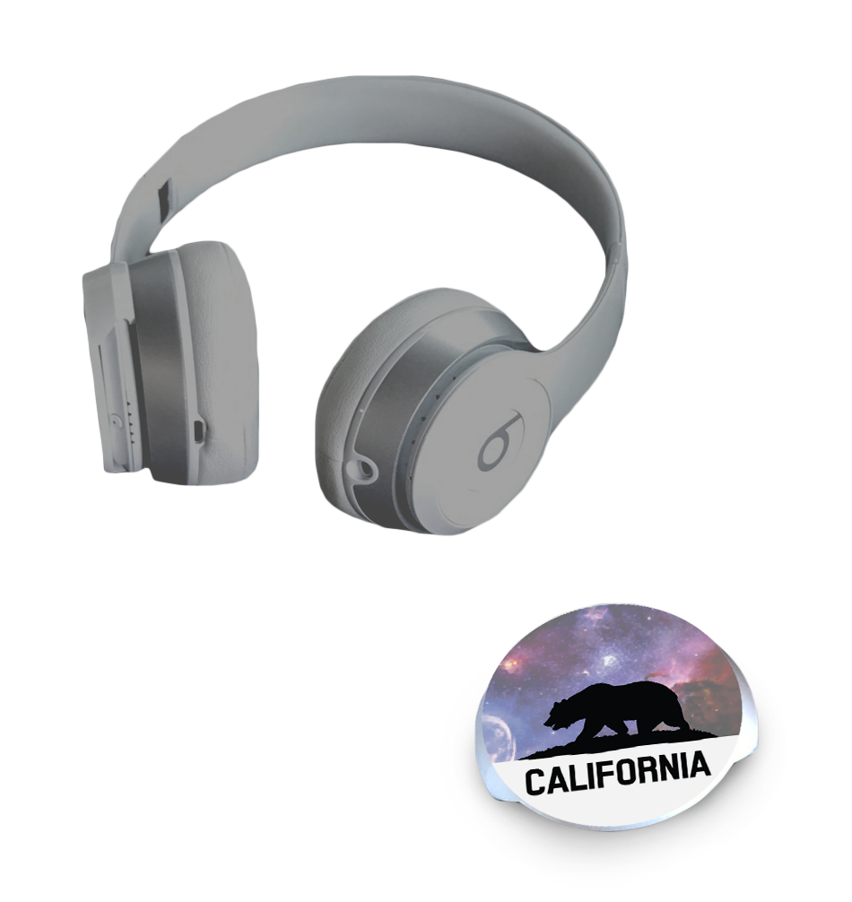 dekaSlides for Beats Headphones - Cali Bear