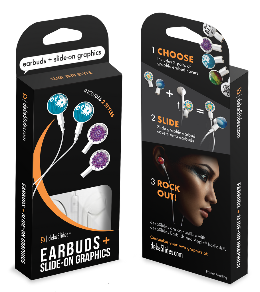 Earbuds + Combo Pack: Daisy on Blue + Purple Mandala