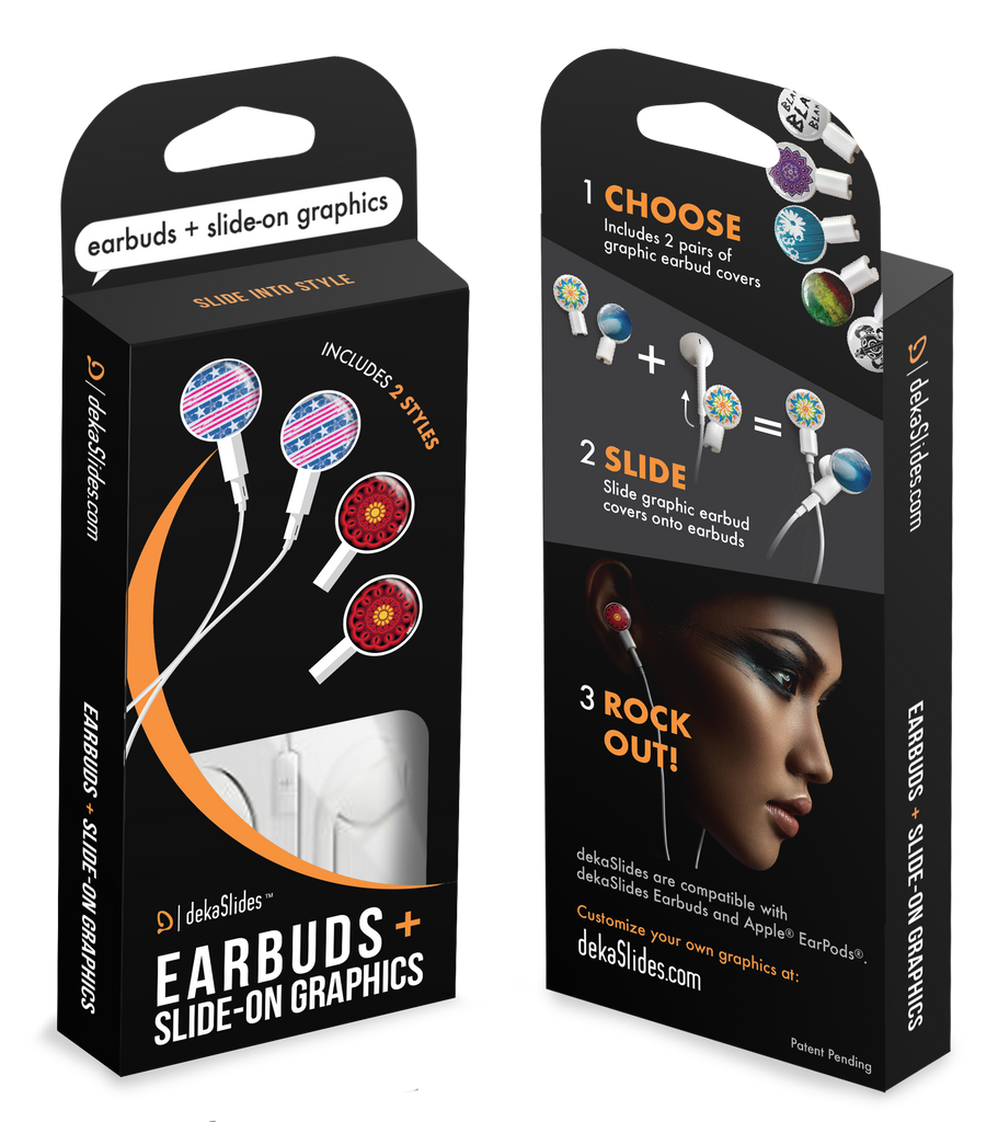 Earbuds + Combo Pack: Stars and Stripes + Red/Black Mandala