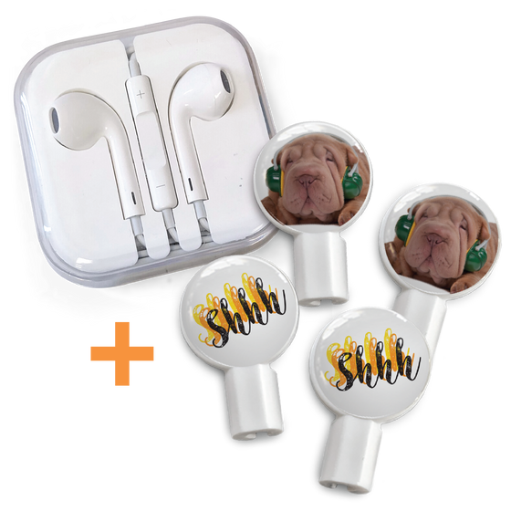 Earbuds + Combo Pack: Sharpei + Shhh