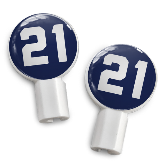 dekaSlides: Pair of Apple Earbud Covers - 21 blue/white