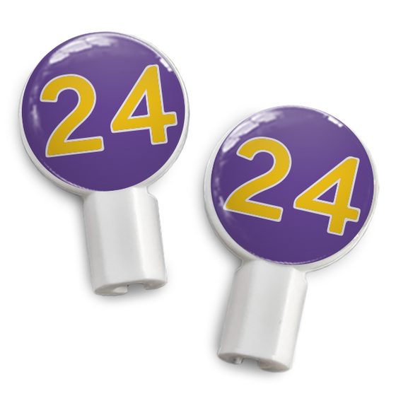 dekaSlides: Pair of Apple Earbud Covers - 24 purple/yellow