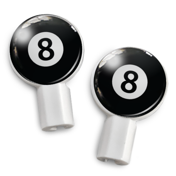 dekaSlides: Pair of Apple Earbud Covers - 8 Ball