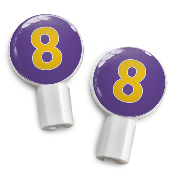dekaSlides: Pair of Apple Earbud Covers - 8 purple/yellow