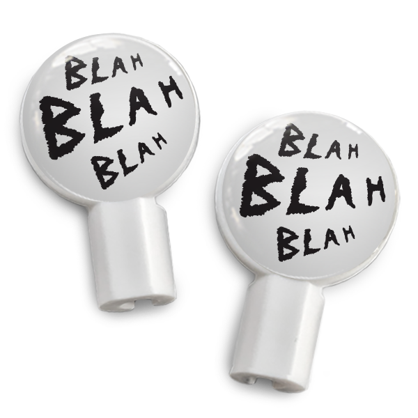 dekaSlides: Pair of Apple Earbud Covers - Blah Blah Blah