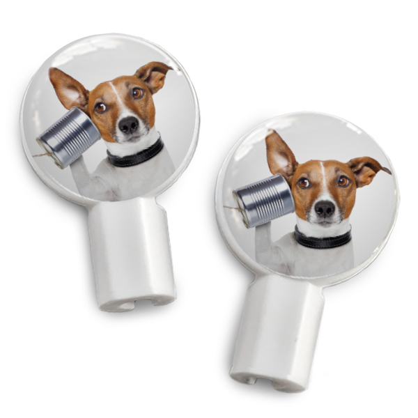dekaSlides: Pair of Apple Earbud Covers - Dog is Listening