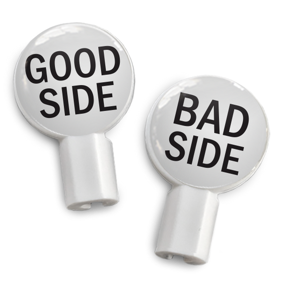 dekaSlides: Pair of Apple Earbud Covers - Good Side/Bad Side