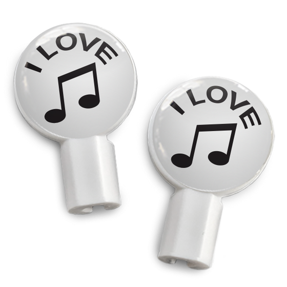 dekaSlides: Pair of Apple Earbud Covers - I love Music
