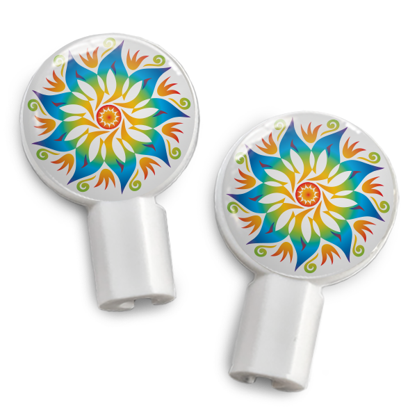 dekaSlides: Pair of Apple Earbud Covers - Mandala Flower
