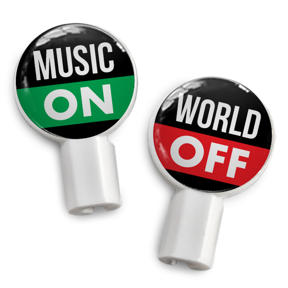 dekaSlides: Pair of Apple Earbud Covers - Music On/World Off