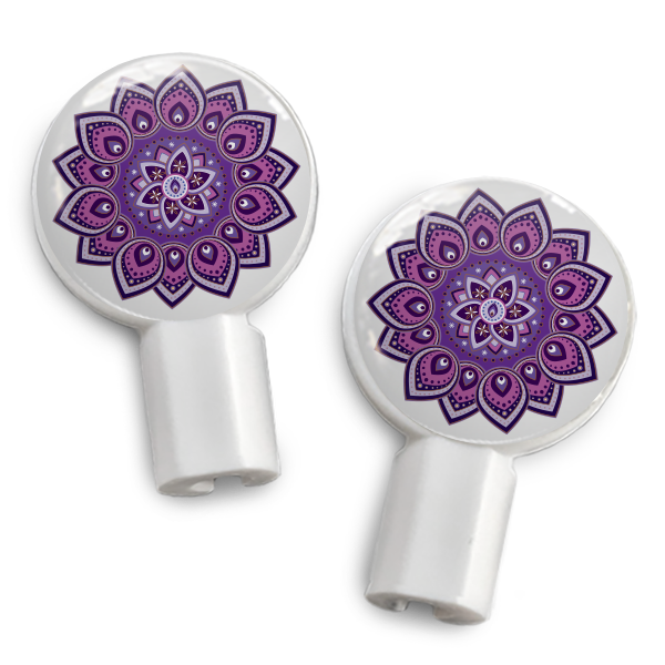 dekaSlides: Pair of Apple Earbud Covers - Purple Mandala