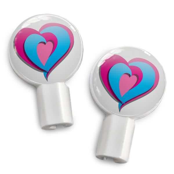 dekaSlides: Pair of Apple Earbud Covers - Tri-heart
