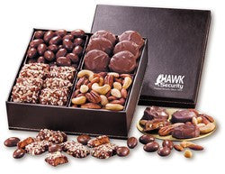 Gourmet Chocolate & Nuts in Faux Leather Box
