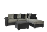 Diva 3 Seater with Chaise Black