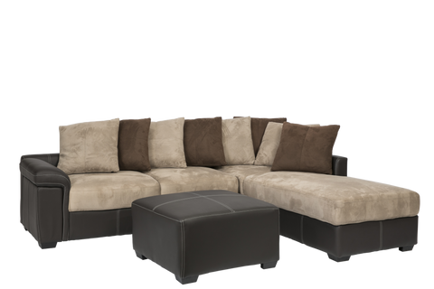 Amazing Diva 3 Seater With Chaise Brown