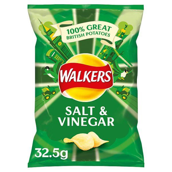 Walkers Salt & Vinegar Crisps 32.5g - Seasoned Logs Surrey
