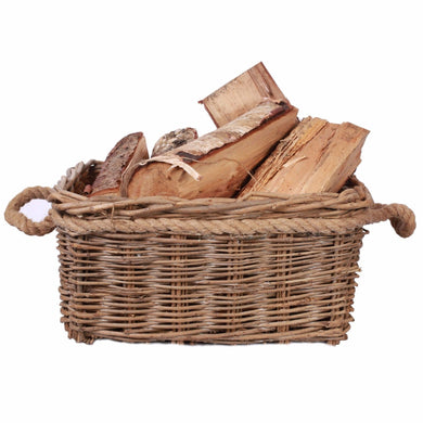 Fireside Wicker Log Basket With Rope Handles - Seasoned Logs Surrey