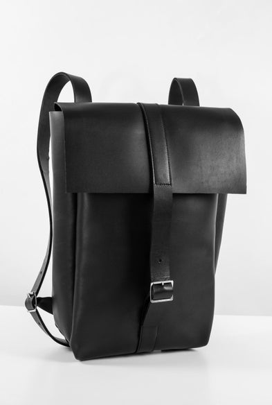 Water Resistant Leather Solid Backpack