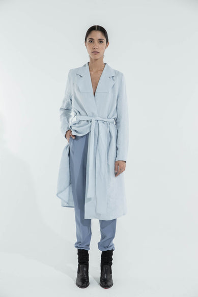 Fake Dress  in Light Blue Linen